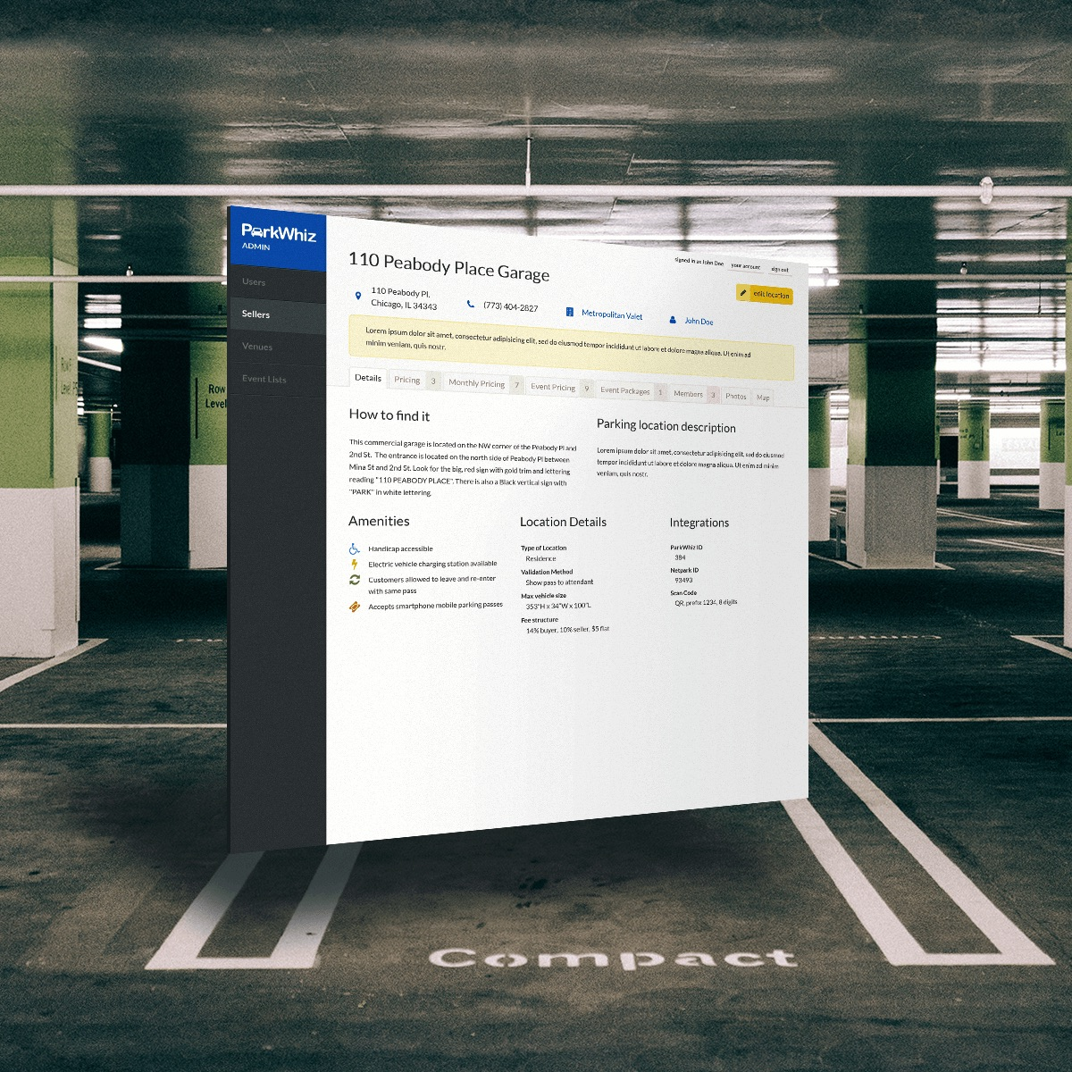 Parkwhiz parking admin screen